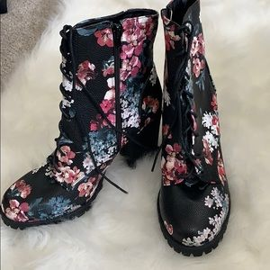 Floral Heeled combat boots size 11